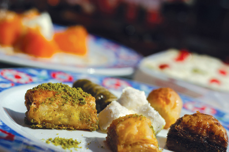 different baklavas in a traditional plate