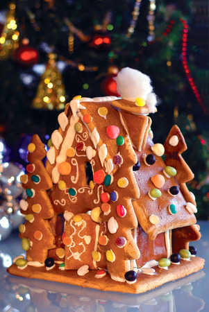 Pastry Christmas House with colourful candy