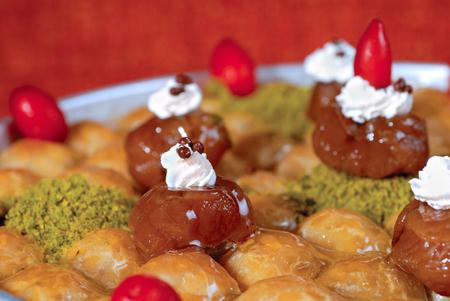 baklawa: baklawa with chestnut and cornelian cherry in a tray