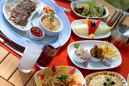 Turkish dinner table Stock Photo