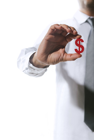 reach out: White collar businessman reach out dollar sign