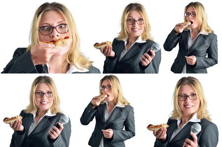Business vrouw is het eten van pizza op een witte achtergrond