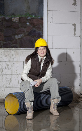 Young architecture woman in a construction Stock Photo