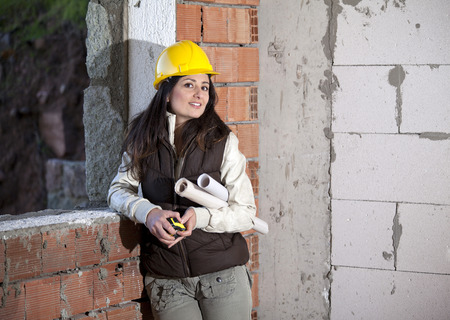 Young architecture woman in a construction Stock Photo - 71560528