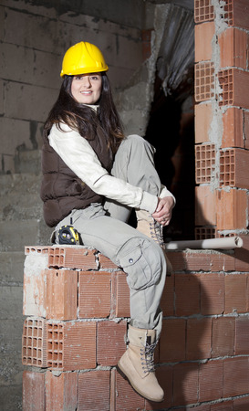 Young architecture woman in a construction Stock Photo - 71536822