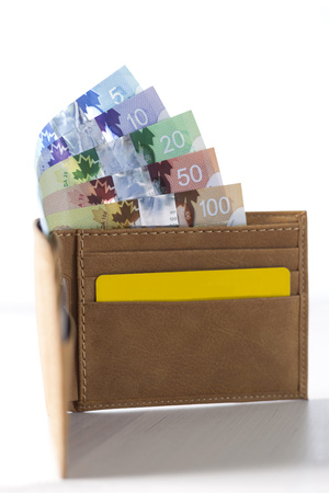 Canadian Dollars and credit cards in mustard coloured leather wallet Stock Photo - 76215486