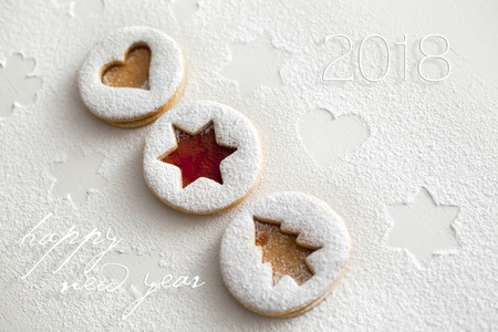 2018 Christmas and new year gingerbread cookies with honey Stock Photo - 88503702