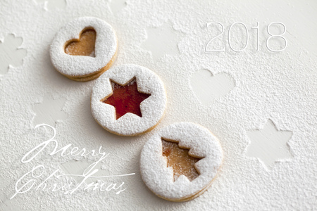 2018 Christmas and new year gingerbread cookies with honey Stock Photo - 88503703