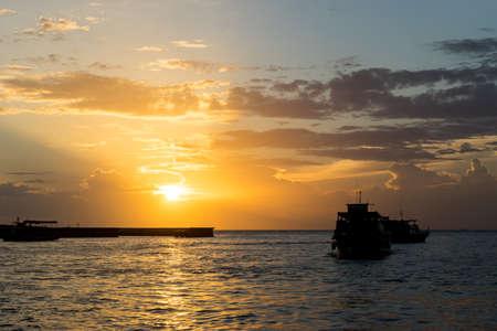 passenger ship: Passenger ship from Koh Larn at dusk,Pattaya,Thailand