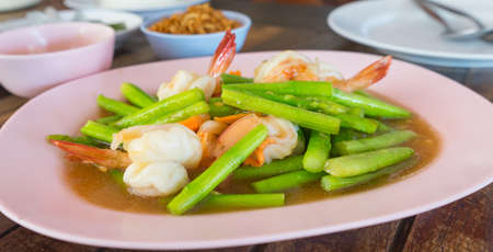 delectable: Stir-fried asparagus with prawns in dish