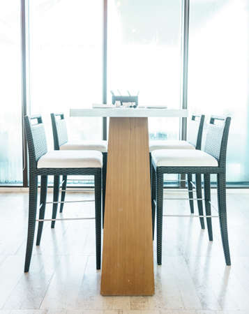 modern dining room: Modern dining room with brown chairs Stock Photo