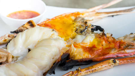 close-up of giant river prawn grilled