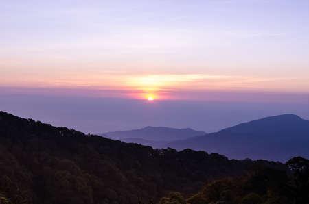 sunrise in the morning at veiw point, Doi Inthanon, Thailand Stock Photo