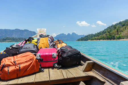 luggage on transport boat go to island Stock Photo