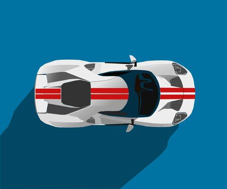 white classic convertible on white background, vector illustration, original design