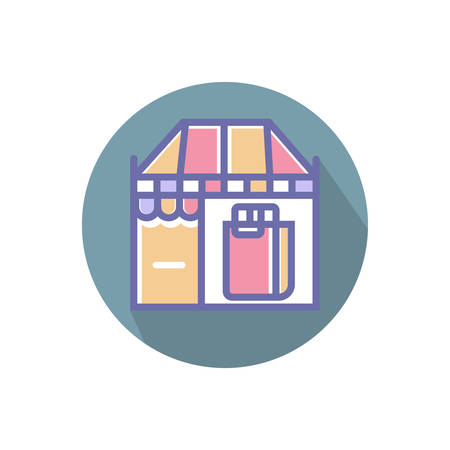 shop or market perfect icon. vector shop with shopping bag perfect icon illustration- vector