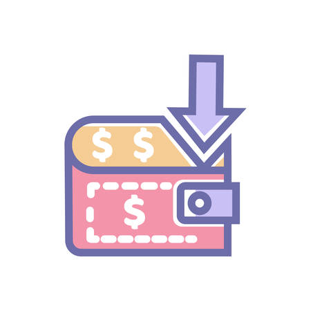 Payment icon. vector perfect Payment icon with money bag and arrow- vector