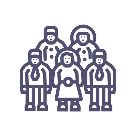 group or business team perfect icon- vector 64X64 perfect pixel icon with man and woman- vector