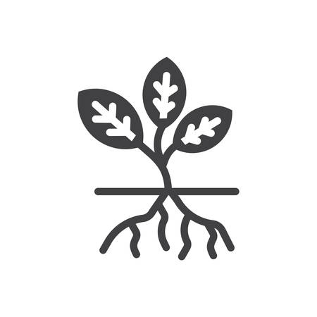 Root vector plant icon. mono vector sign symbols. Perfect pixel icons or illustration for website or mobile apps