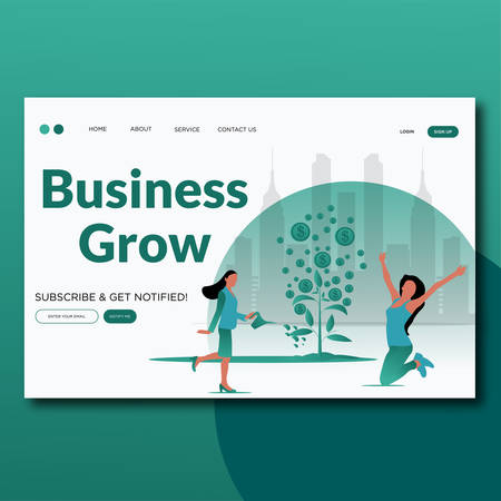 Growing Business- Flat Vector landing page illustration. Ilustrace