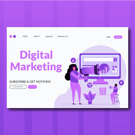 Digital Marketing- Vector flat style Digital Marketing landing page illustration Stock Illustratie