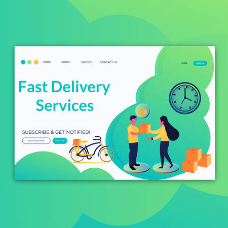 Fast Delivery Services- Landing page concepts for website and mobile development. Modern flat illustration.