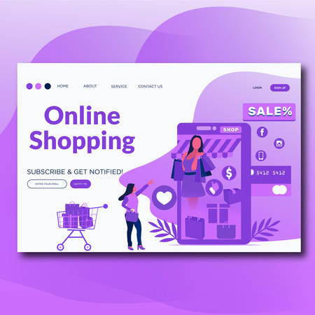Online Shopping- Flat style vector landing page illustration for website.