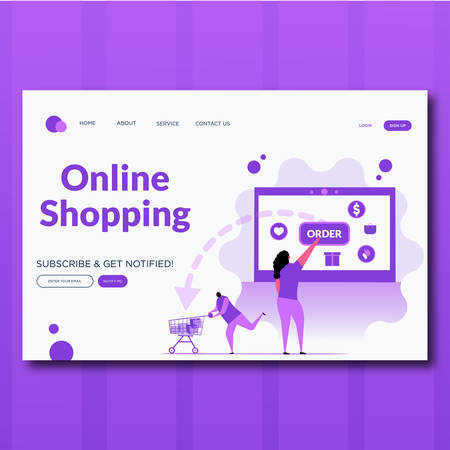 Order online shopping concept with character. Flat illustration. Landing page for web.