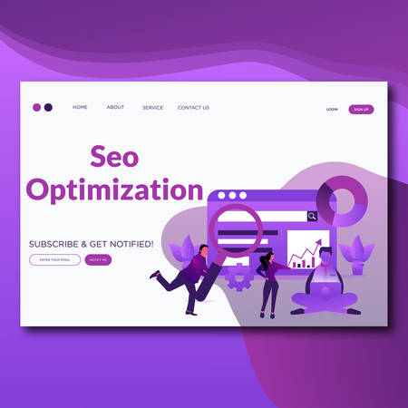Seo Optimization- Modern Flat seo optimization vector illustration landing page.