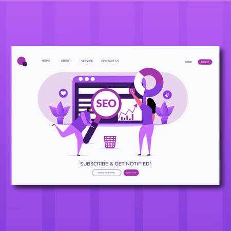 seo optimization- Vector illustration landing page seo optimization with character. Stock Illustratie