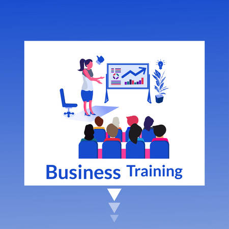 Business Training- Modern flat design concept of web page design for website and mobile website. Easy to edit and customize. Vector illustration