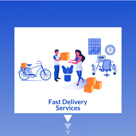 Fast Delivery Services- Modern flat design concept of web page design for website and mobile website. Easy to edit and customize. Vector illustration