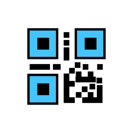QR code, Bar code icon- vector editable QR code, Bar code icon for website and mobile apps 矢量图像