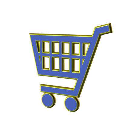 3d shopping cart symbol