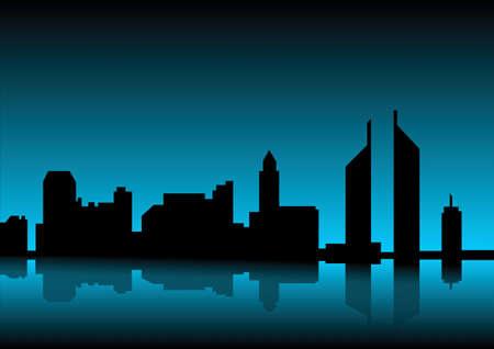 twilight: city skyline at dawn Stock Photo