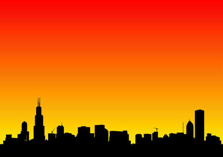 city skyline at dawn photo