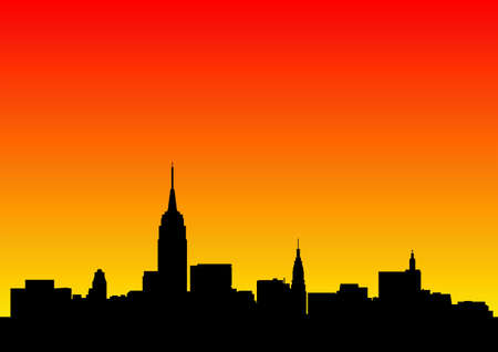 Skyline der Stadt im Morgengrauen