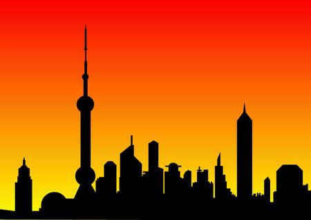 city skyline at dawn Stock Photo - 10376630
