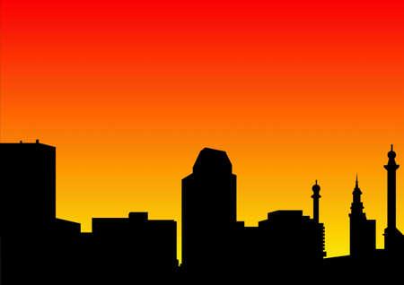 city skyline at dawn Stock Photo