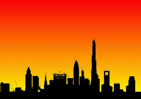 royalty free images: city skyline at dawn Stock Photo