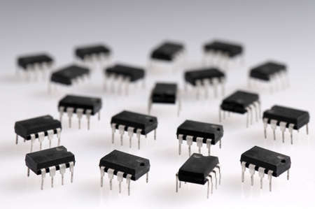 Lots of integrated circuit boards against a white background Stock Photo - 13555523