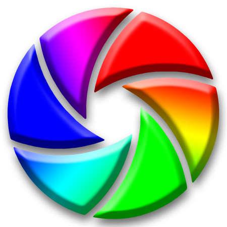 Aperture diaphragm colored like a color wheel Stock Photo - 13555524