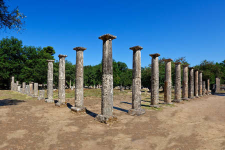historical sites: Palaestra monument (3rd cent. B.C.) in Olympia, Greece Stock Photo