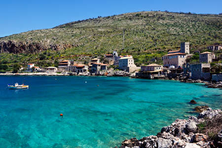 peloponnese: Limeni is a traditional fishing village in Mani, Greece  Stock Photo