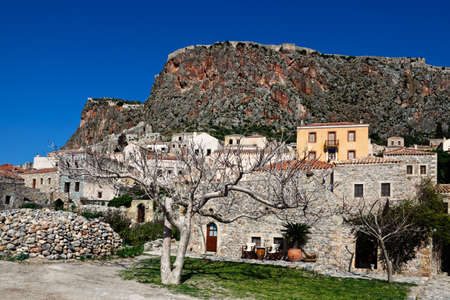 peloponnese: The Byzantine castle-town of Monemvasia in Greece