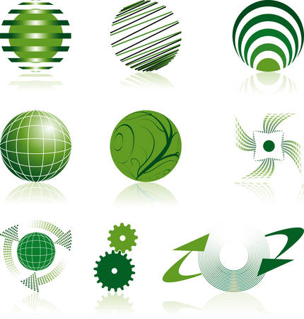 nine green corporate logos Vector