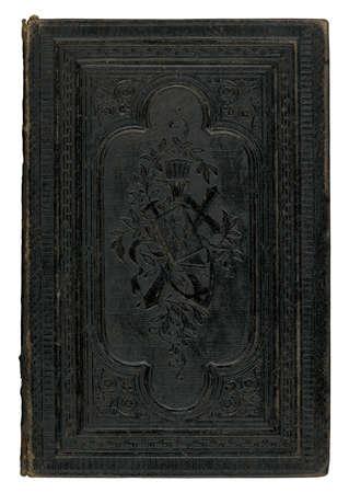 portadas de libros: portada del libro de cuero negro cosecha aislada sobre fondo blanco Foto de archivo