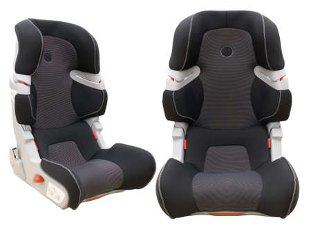 two view angles of safety child car seat isolated on white background photo
