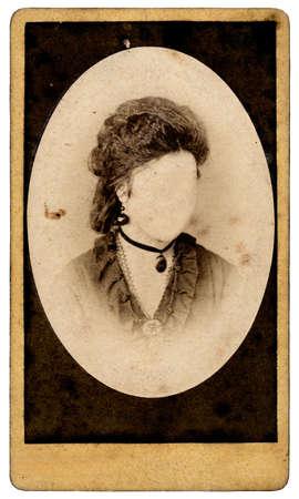 vintage woman portrait without a face photo