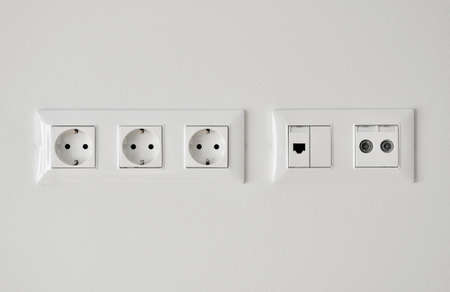 socket: electrical, ethernet and tv or radio socket on the wall